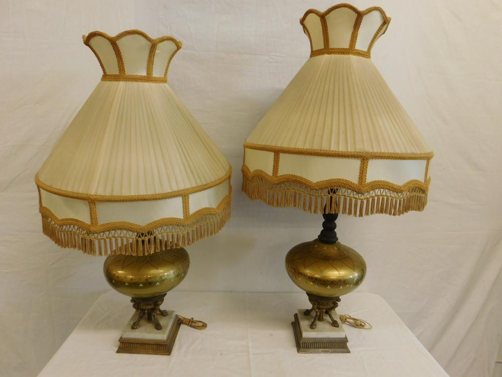 Pr Hand Painted Glass Table Lamps