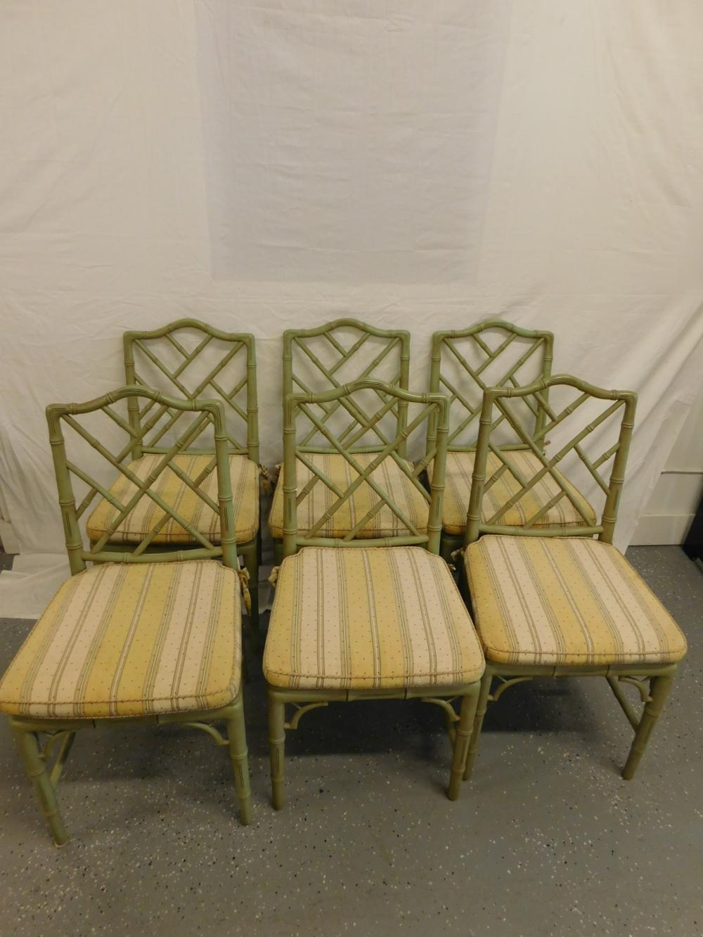 Set of 6 Chippendale Style Bamboo Chairs