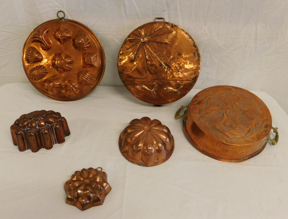 6 Copper Food Molds