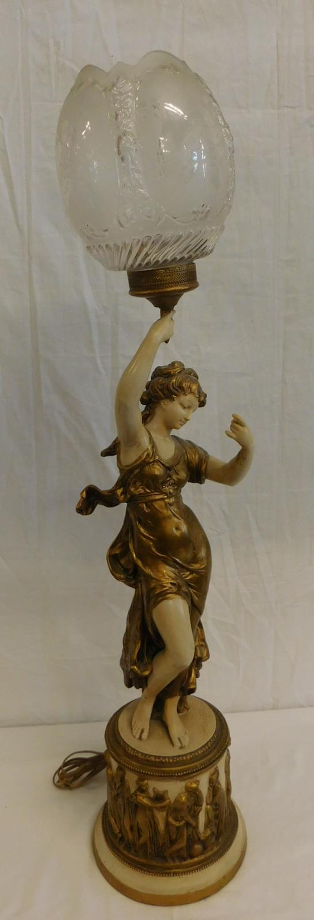 An Art Deco figural lamp. In gilt with colours on spelter, 2