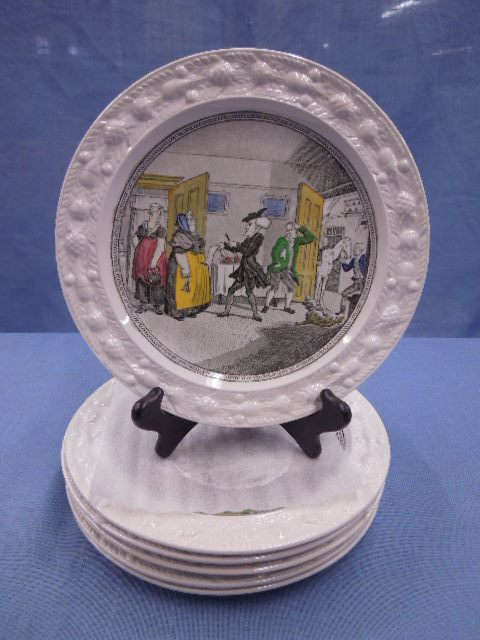 Sold Price: William Adams Pottery Dr. Syntax Plates - June