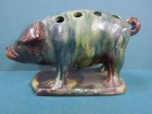 19th C. Faience Pig Form Flower Frog