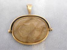 Gold & Agate Spinner Seal Fob