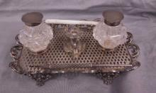 19th C Silvered Ink Stand