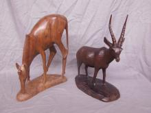 2 Carved Wood African Animal Figures
