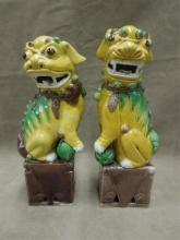 Pair Chinese Porcelain Foo Dogs