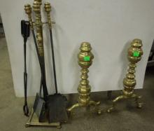 Antique Chippendale Brass Andirons & Tools