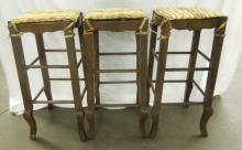 Set 3 Country French Bar Stools