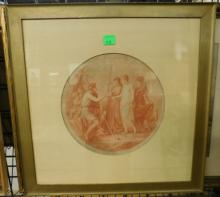 Antique Neoclassical red ink engraving
