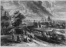 Bolswert, Schelte Adams: Ansicht von Mecheln mit Erntearbeitern