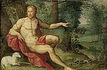 Antwerpener Schule: 17. Jh. Johannes der Täufer in einer Waldlandschaft