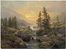 Mühlig, Bernhard: Gebirgslandschaft mit kleinem Bach bei Sonnenuntergang