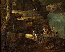 Italienisch: um 1700. Felsige Flußlandschaft mit Fischern