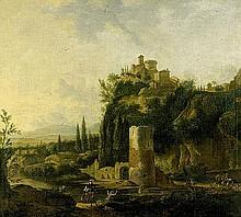 Dughet, Gaspard - Umkreis: Landschaft mit Kastell und Turmruine
