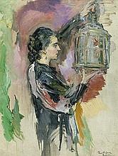 Scholtz, Robert Friedrich Karl: Dame mit Vogelkäfig