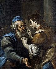 Oberitalienisch: um 1690. Tobias heilt seinen Vater Tobit von der Blindheit