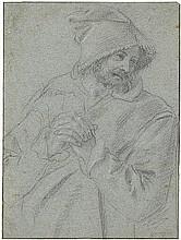 Bolognesisch: 1. Hälfte 17. Jh. Brustbildnis eines bärtigen Mannes mit Kapuze