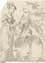 Deutsch: um 1600. Edeldame mit Wappenschild