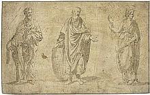 Italienisch: 17. Jh. Drei stehende Figuren mit einer Schriftrolle, Schild und Maske