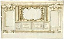 Italienisch: um 1600. Entwurf einer Wanddekoration mit Kartuschen, Fruchtgirlanden und Hermen