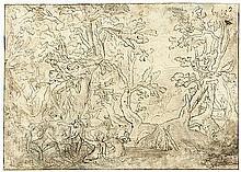 Niederländisch: um 1620. Diana und Callisto in einer Waldlandschaft