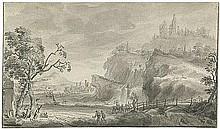 Niederländisch: 17. Jh. Pittoreske Berglandschaft mit Ruine und Wasserfall