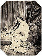 Belloc, Joseph Auguste: Sitting female nude on chaise longue