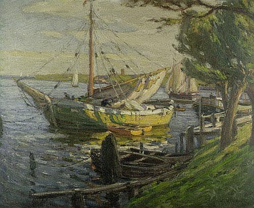 Wilcke, Wilhelm Segelboote am sonnenbeschienen