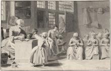 Noorde, Cornelis van: Handarbeitsstunde in der Leseschule