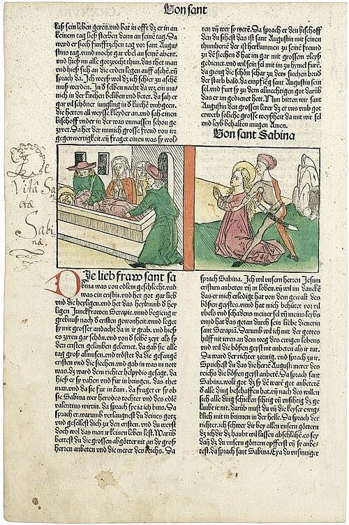 Voragine, Jacobus de: Legenda Aurea Einzelblatt