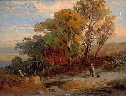 Elsasser, Friedrich August - zugeschrieben: Südliche Landschaft mit Baumgruppe