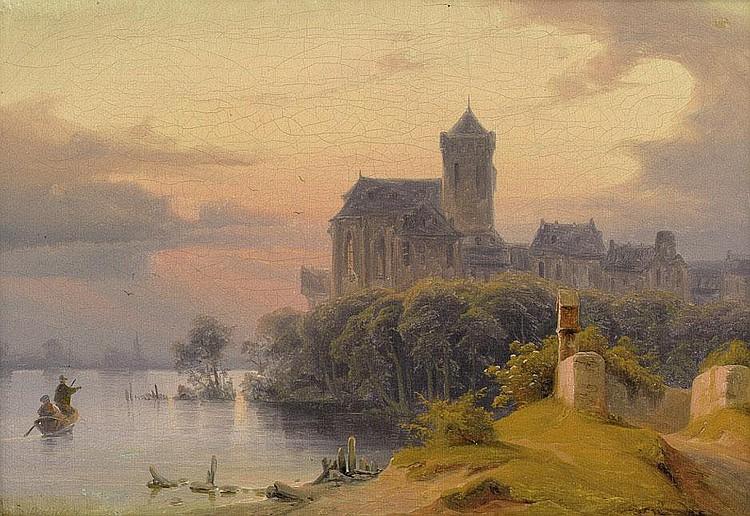 John, August Wilhelm: Gotische Kirche im Abendlicht