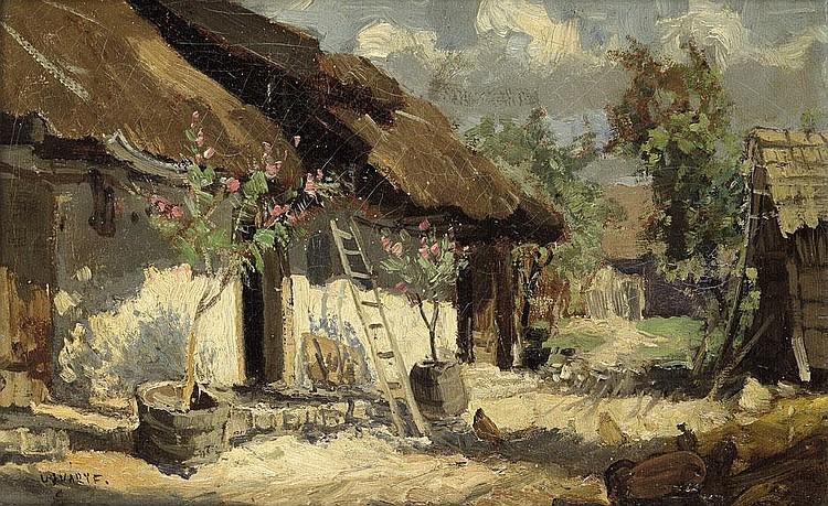 Ujvary, Ferenc: Sonnenbeschienener, ungarischer Bauernhof