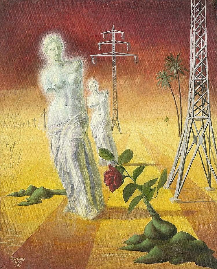 Godeg, Karl: Phantastische Landschaft  mit Venus von Milo