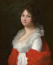 Mosnier, Jean-Laurent: Bildnis einer Hamburger Dame im weißen Kleid mit Tüllkragen und roter Stola