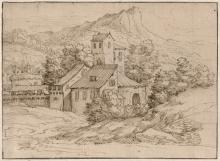 Grimaldi, Giovanni Francesco - zugeschrieben: Landschaft mit einem Gehöft