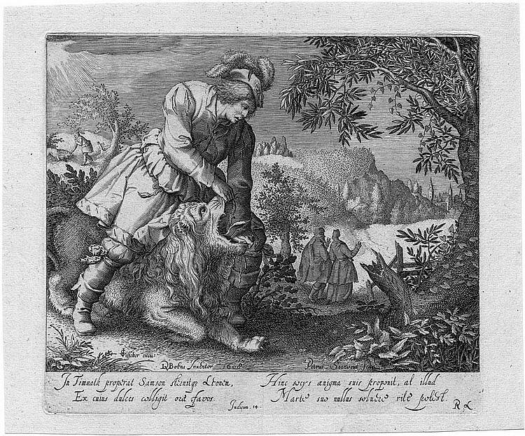 Serwouters, Pieter: Samson und der Löwe