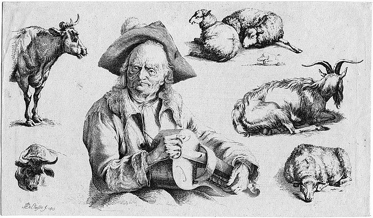 Claussin, Ignace Joseph de : Studienblatt mit drehleierspielendem Mann