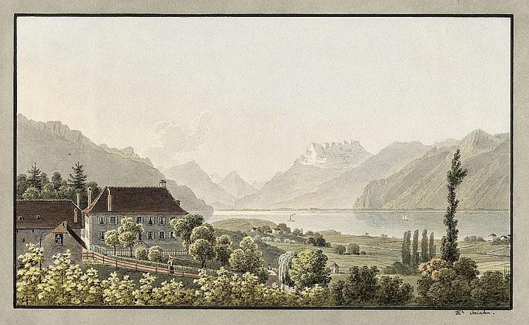 Steinlen, Christian Gottlieb: Blick auf den Genfer See bei Vevey