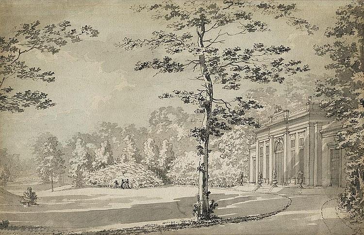 Kuntz, Karl: Ansicht einer Parkanlage mit Orangerie