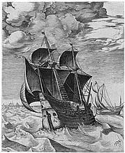 Bruegel, Pieter d. Ä. - nach - nach: Ein niederländisches Frachtschiff und ein Boeier