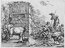 Berchem, Nicolaes: Die saufende Kuh