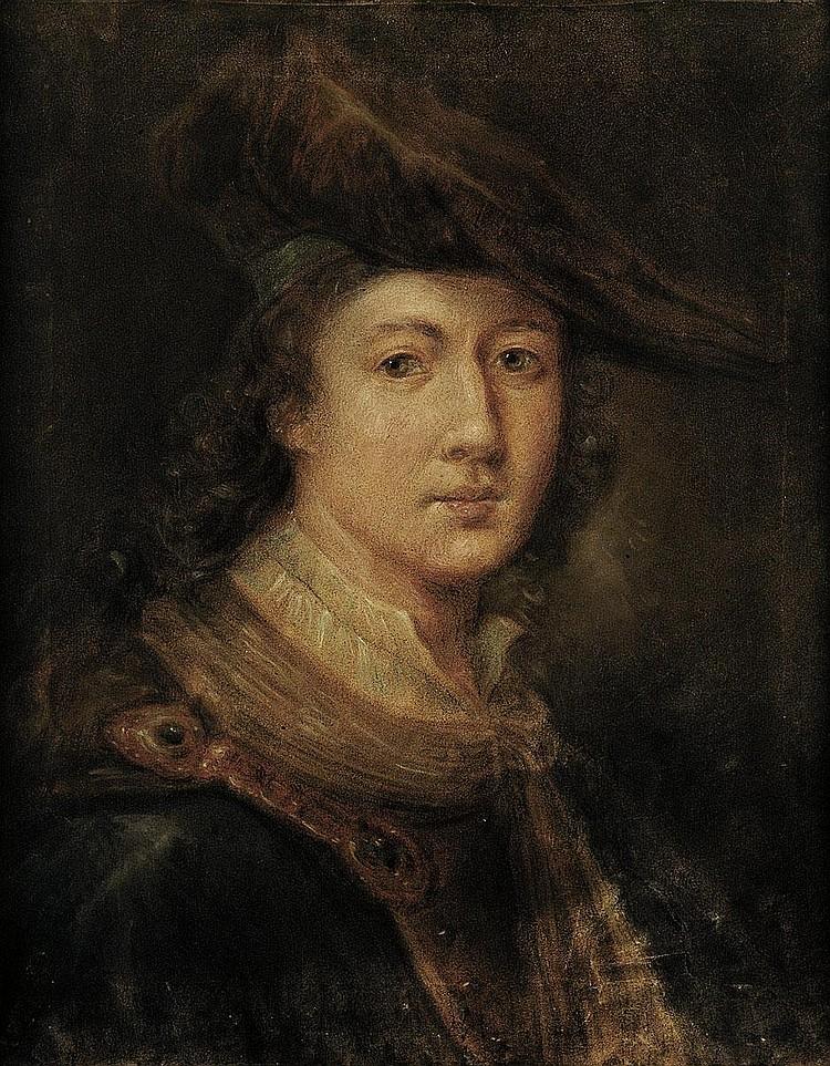 Falbe, Joachim Martin - zugeschrieben: Bildnis eines jungen Mannes mit rotem Samtbarett