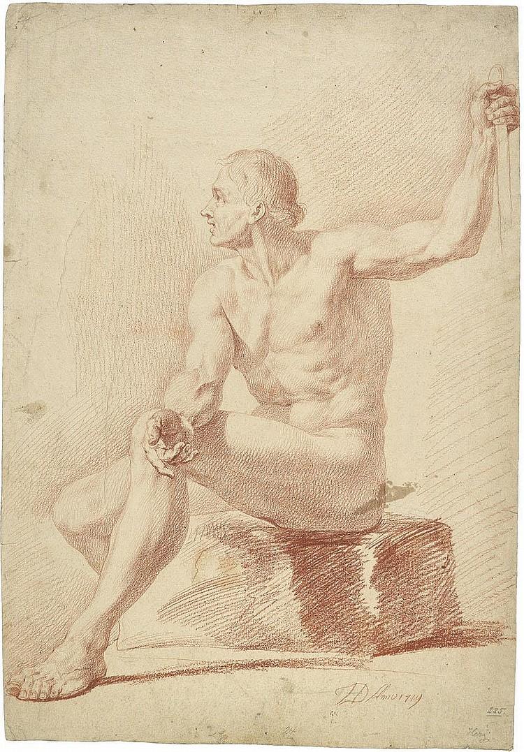 Herz, Johann Daniel d. Ä.: Männlicher Akt, auf einem Stein sitzend