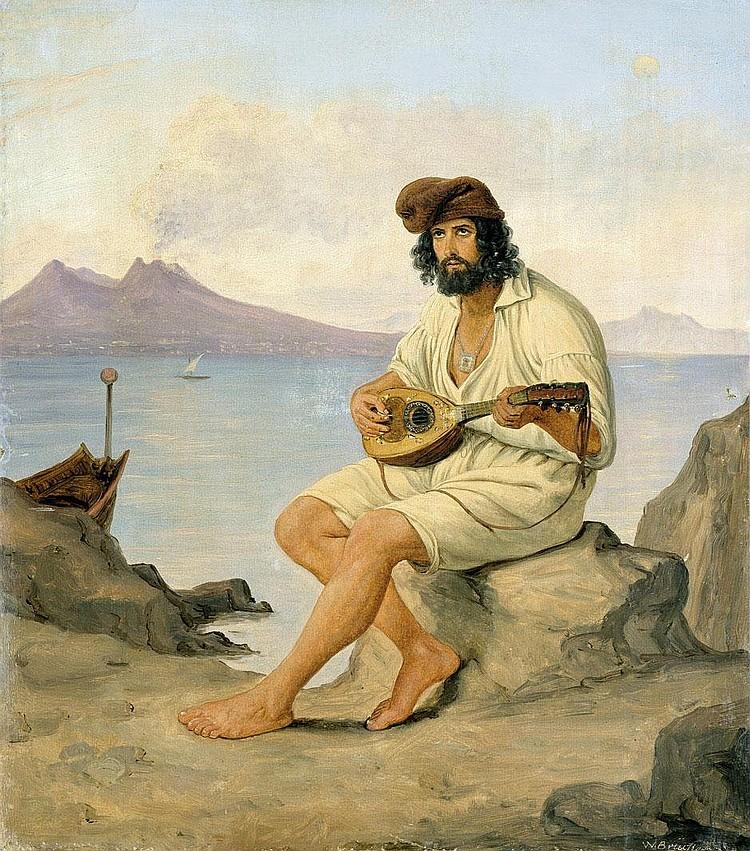 Brücke, Wilhelm: Mandoline spielender Fischer am Golf von Neapel