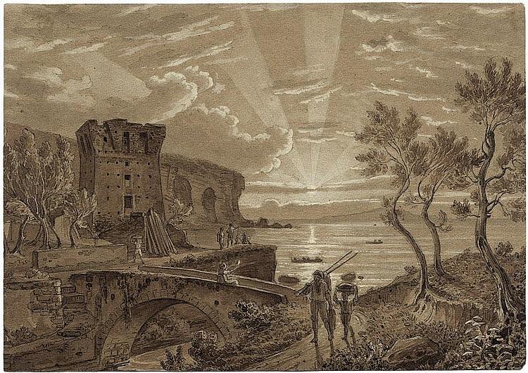 Götzloff, Carl Wilhelm: Sonnenuntergang über dem Golf