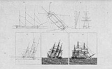 Eckersberg, Christoffer Wilhelm: Blatt mit zwei Segelschiffen auf See und weiteren vier perspektivischen Zeichnungen