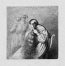 Grimm, Ludwig Emil: Marie Grimm, sitzend und ihr langes Haar flechtend