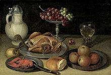 Flegel, Georg - Umkreis: Stilleben mit Trauben, Flusskrebs und Kapaun