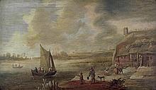 Coelenbier, Jan - Nachfolge: Niederländische Flusslandschaft mit kleinem Segelboot
